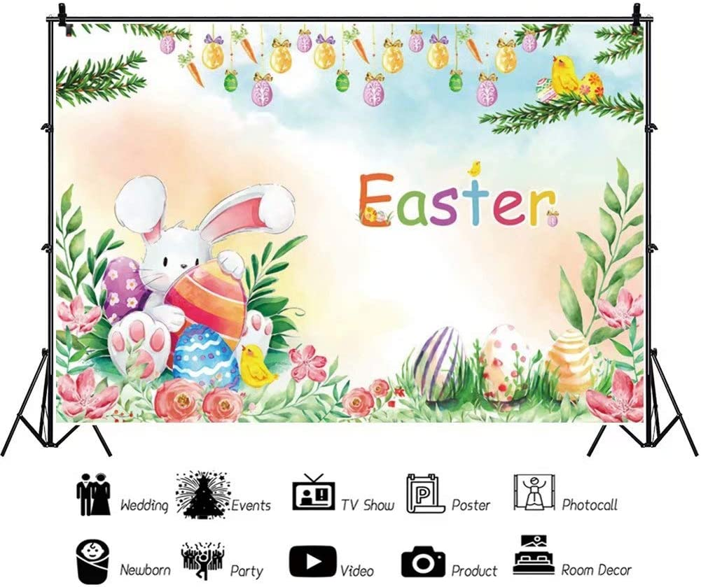 DaShan 14x10ft Spring Floral Easter Backdrop Fairytale Dreamy Spring Happy Bunny Rabbit Easter Eggs Photography Background Green Grass Sunshine Baby Easter Party Decor Portrait Photo Props