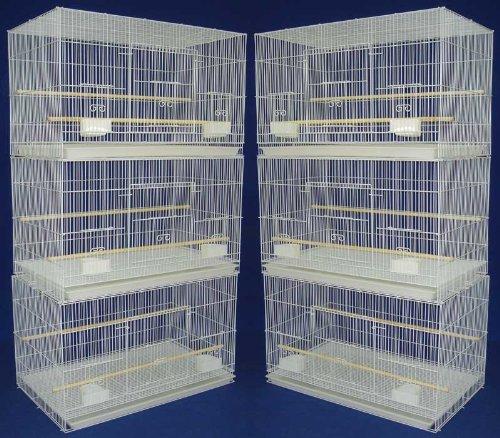 "Lot of 6 Aviary Breeding Bird Finch Parakeet Finch Flight Cage 24"" x 16"" x 16"" White"