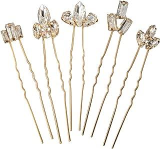 Feyarl Gold Bridal Crystal Hair Pins Set Wedding Rhinestones Hair Pins Clip Hair Jewelry Assecories Pack (Set of 5)