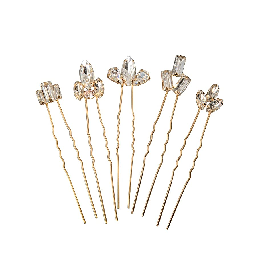 Feyarl Gold Bridal Crystal Hair Pins Set Wedding Rhinestones Hair Pins Clip Hair Jewelry Assecories Pack (Set of 5)