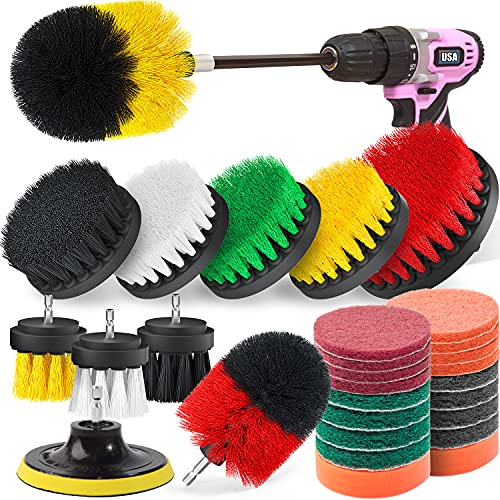Poobii 30 Pieces Drill Brush Set, Power Scrub Brush with Extend Long Attachment, Scrub Pads & Sponge, Cleaning Brush for Bathroom, Car, Wheels, Carpet, Tile, Floor, BBQ Grill, Kitchen