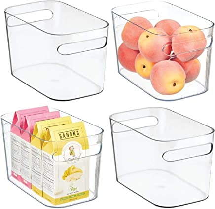 mDesign Plastic Kitchen Pantry Cabinet, Refrigerator or Freezer Food Storage Bins with Handles - Organizer for Fruit, Yogurt, Snacks, Pasta - Food Safe, 10 Inches, 4 Pack - Clear