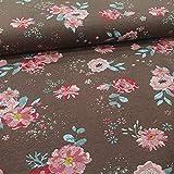 Schickliesel Jersey Stoff Meterware Rosarote Blumen (braun)