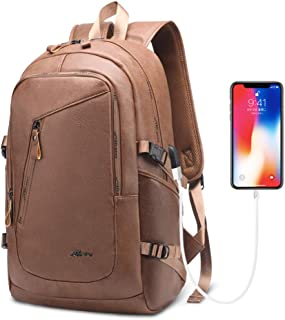 DYJ Leather Laptop Water Resistant Backpack for Women and Men, PU Vintage Leather Backpack Purse Casual Daypack College School Travel Backpack with USB Charging Port Fits 15.6 Inch Laptop & Notebook
