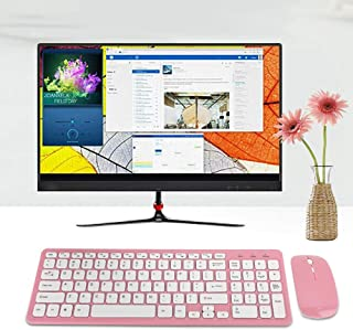 Keyboard and Mouse Set, Wireless Mouse, Thin Office Keyboard, for Computer(Wireless pink suit)