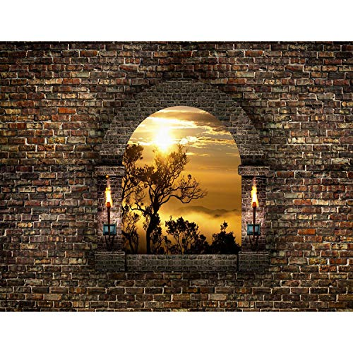 Fototapeten 396 x 280 cm Fenster Sonnenuntergang | Vlies Wanddekoration Wohnzimmer Schlafzimmer | Deutsche Manufaktur | Braun Gelb 9025012a