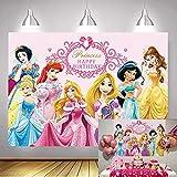 NSY Fondo de princesa rosa para baby shower para niña, 1er cumpleaños, decoración de fotografía, suministros de princesa para fiesta temática, banner (2,1 x 1,5 m)