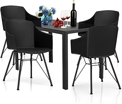 wholesale Giantex 5-Piece Dining Table Set, Kitchen Table with Tempered Glass Table Top and 4 Chairs, Modern Dining Table & Chairs Set, Dinette online Set for 4 for Breakfast sale Dining Room Kitchen (Black) online