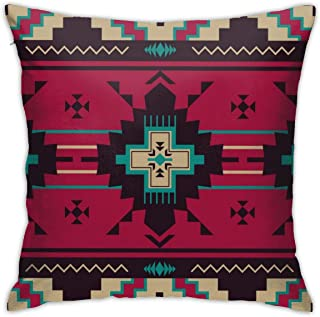 Yaateeh Native Southwest American Aztec Navajo Print Throw Pillow Covers Decorative 18x18 Inch Pillowcase Square Cushion C...