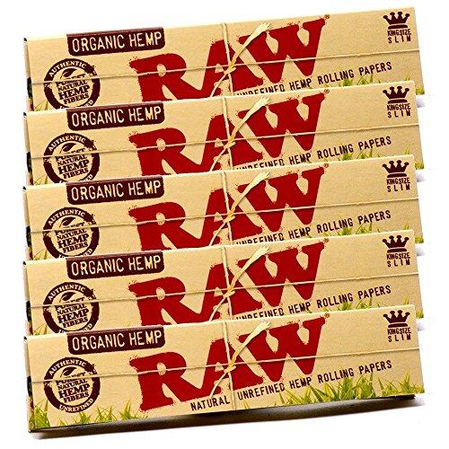 RAW Organic Zigarettenblättchen, aus Hanf, naturbelassen, 5Heftchen
