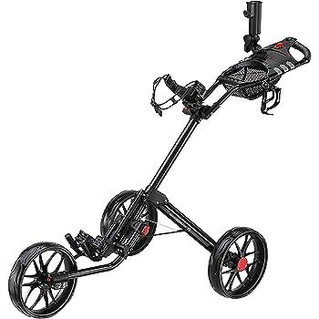 Caddytek Super Deluxe Chariot de golf à quatre plis Noir avec sac de rangement