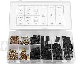 Heitune 170pcs Metalen U-Clip Connector & Nut Schroeven Fastener Assortiment Kit