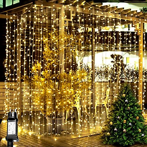 Yeelan 6M x 3M 600 LED Lichtervorhang, Niederspannung 31V,600 LEDs Lichterketten Vorhang mit 8 Lichtmodellen, Fensterhängelampe für Weihnachts, Halloween, Innen, Außen&Hochzeitsdekoration