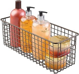 mDesign panier de rangement salle de bains pour produits cosmétiques - pour shampooing, lotion, éponges etc. - rangement m...