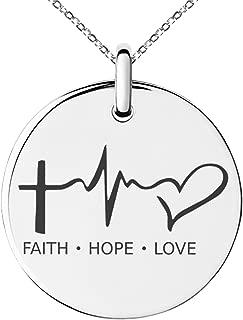 Stainless Steel Faith Hope Love Lifeline Small Medallion Circle Charm Pendant Necklace