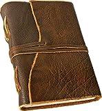 'BORDEAUX' Notizbuch/Leder-Tagebuch, Lederbuch, Ledereinband - handgeschöpftes Papier - braun im Antik-Look (17,5 x 13 cm)
