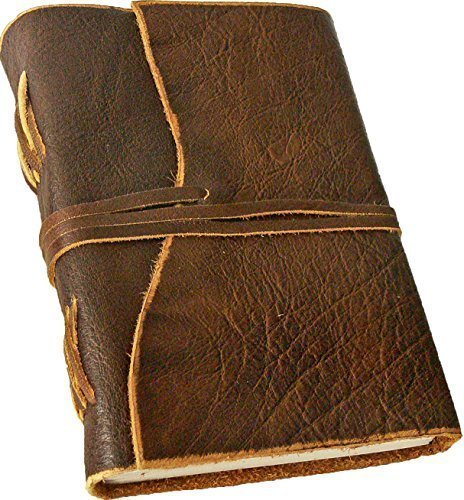 "\""BORDEAUX\"" Notizbuch/Leder-Tagebuch, Lederbuch, Ledereinband - handgeschöpftes Papier - braun im Antik-Look (17,5 x 13 cm)"
