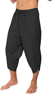 COOFANDY Men's Linen Harem Capri Pants Lightweight Loose 3/4 Shorts Drawstring Elastic Waist Casual Beach Yoga Trousers