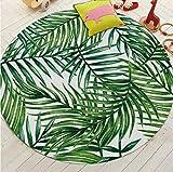 Haiqings Tapis Ronds pour Salon Vert Tropical imprimé Salon Tapis de Chambre Toilette décorer Tapis de Porte antidérapant 200 cm
