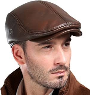 Men's Real Cowhide Leather Beret Hunting Cap Beanie Trucker Cap Mens Sports Hat