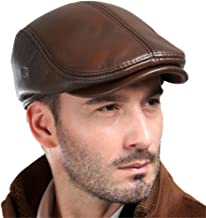 VEMOLLA Men's Real Cowhide Leather Beret Hunting Cap Beanie Trucker Cap Mens Sports Hat