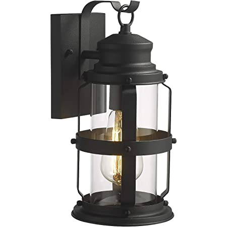 Amazon Com Zeyu Exterior Wall Sconce Outdoor Wall Lantern Light Fixture For Patio Hallway Black Finish With Clear Glass Shade 20073b1 Home Improvement