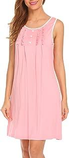 Hotouch Sleepwear Womens Nightgowns Cotton Night Shirts Sleeveless Scoop Neck Sleep Dress S-XXL
