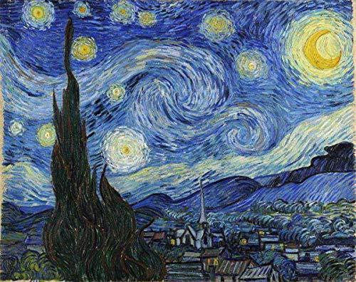 Noite Estrelada de Vincent van Gogh - 30x38 - Tela Canvas Para Quadro