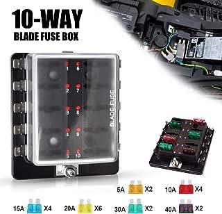 Liteway 10-Way Blade Fuse Box 12-32V LED Illuminated Automotive Fuse Block for Car Boat Marine Trike with LED Warning Light Kit, 2 Years Warranty