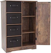 """USIKEY Dresser Storage Tower with 4 Removable Drawers and 1 Cabinet, Storage Cabinet with Shelves, 23.62"""" L x 11.7"""" W x 3..."""