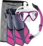 Cressi Adult Snorkeling Set (Mask, Snorkel, Adjustable Fins) Ideal for Travel - Lightweight Colorful Equipment | Bonete Set
