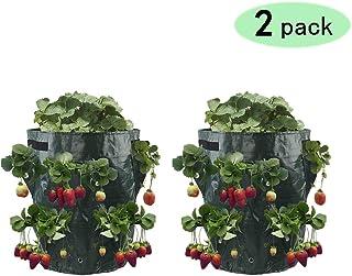 d7d748e453 Rolanli Sac de Plantation, 2pcs Sacs à Plantes Fraisier Croissance Sac Avec  8 Poches Pour