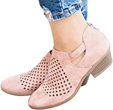 Maybest Women Ankle Boots Western Cowboy Booties Pointed Toe Zip up Low Heel Shoes