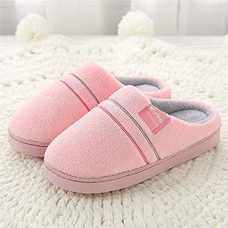 Men's Plus Size Winter Plush Cotton Slippers,Warm Plush Slipper Indoor Anti-Slip Shoes for Women Men,Pink,36/37