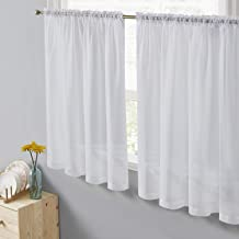 HLC.ME White Window Curtain Short Sheer Voile Rod Pocket Cafe Tier Panels for Bathroom, Kitchen, Small Windows, Living Room and Bedroom (50 x 24 inches Long, Set of 2)