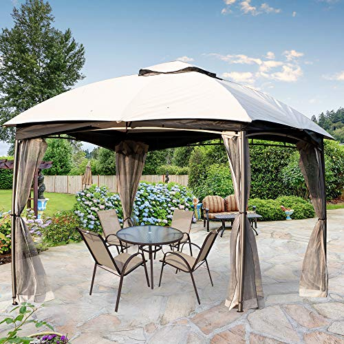 CHARMELEON 10x10 gazebos for patios, Double Vent Outdoor Gazebo, Arc Leg Canopy Tent with Grey Zippered Netting for Backyard, Deck and Patio