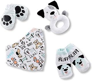 Baby Aspen Puppy Love 4-Piece Baby Gift Set - Bib, Socks, Mittens and Rattle, Grey/Black/White/Blue/Aqua/red