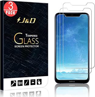 J&D Compatible for 3-Pack Nokia 8.1 Glass Screen Protector, [Tempered Glass] [Not Full Coverage] Ballistic Glass Screen Protector for Nokia 8.1 Screen Protector