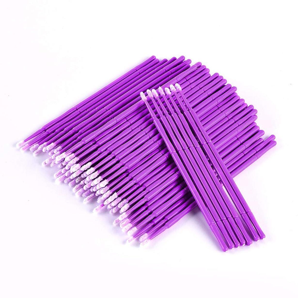 アリーナとても乗って100PCS /袋使い捨てマイクロブラシまつげのエクステンション個々のラッシュまつげエクステンションツール用綿棒マイクロブラシを削除します (Bule-Large)