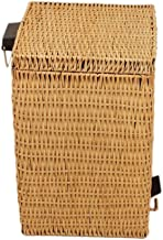 Recycling Bin Rubbish Trash Waste can Bamboo Rattan Square Foot-Type Trash can with lid Home Living Room Bathroom Kitchen...