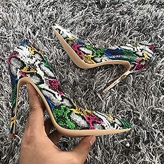725dca85a7cb YUANGGX Mode Talons Hauts Nouveau Femmes Pompes Serpent Motif Mélangé  Couleur Dames De Mariage Chaussures À