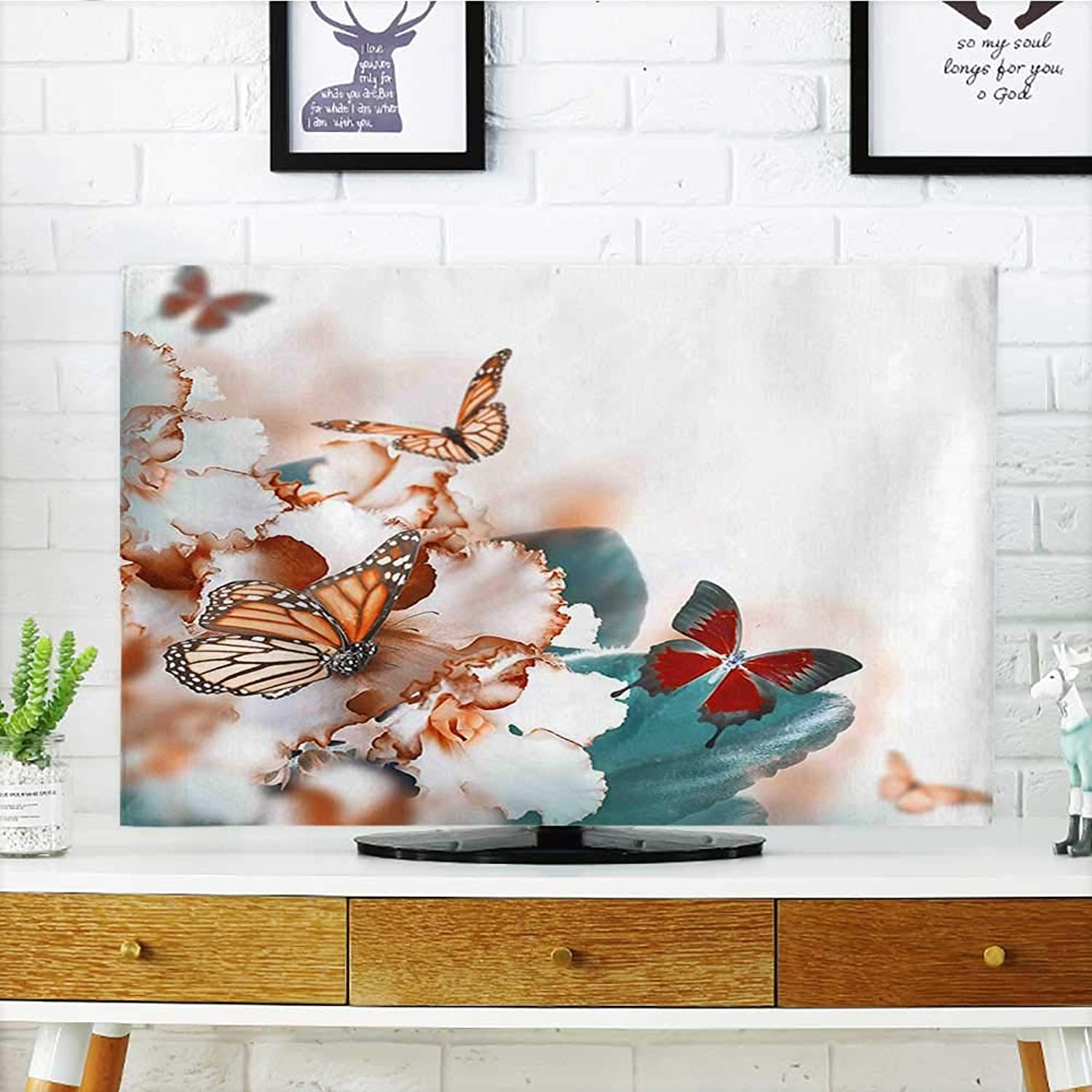 Jiahonghome Cord Cover for Wall Mounted tv Butterflies Flying Over purple Petals Flowers Spring Beauty Illustration Multicolor Cover Mounted tv W32 x H51 INCH TV 55