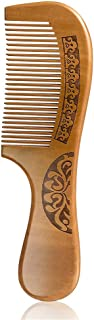 Wapodeai Carving Flouers Wooden Comb, Hair Combs for Women, Premium Anti-Static Peach Wood Hair Comb, Fine Tooth