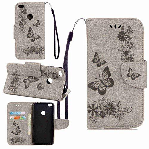 pinlu Funda para Huawei P8 Lite 2017 Función de Plegado Flip Wallet Case Cover Carcasa Piel PU Billetera Soporte con Ranuras Mariposa Gris