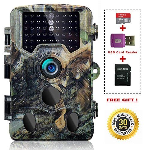 SOVACAM Trail Camera,16MP 1080P 2.4' LCD HD Deer Hunting Camera with 46pcs 850nm Low-Glow IR LEDs and 120° PIR Sensors,Up to 0.2s Trigger time,IP 56 Waterproof (Camouflage + 32G SD Card)