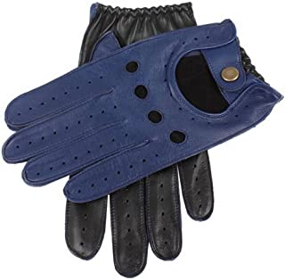 Dents Mens Two Tone Leather Driving Gloves - Royal Blue/Black