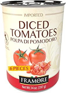 FRAMORE Diced Chopped Peeled Tomatoes in puree canned fourteen ounce bulk case of 6 Authentic Italian Gourmet Made and Imp...