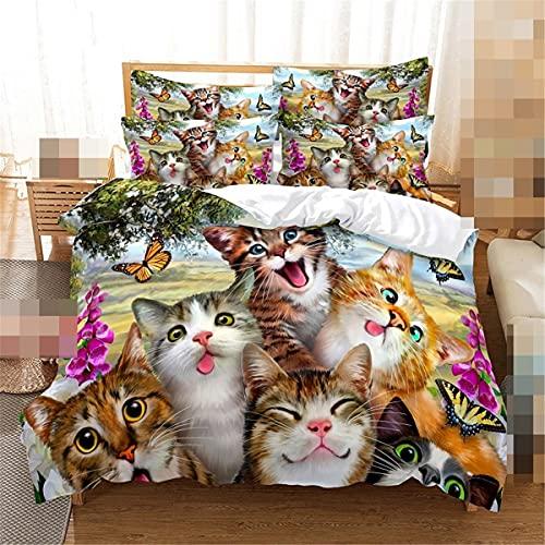Juego de funda de edredón de gato y mariposa 3D digital ropa de cama 2-3 piezas funda de edredón y funda de almohada para el hogar
