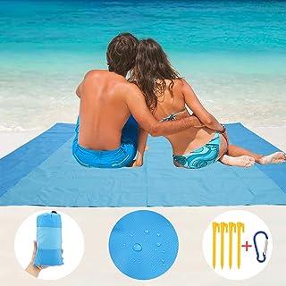Auxsoul Alfombras de Playa Manta de Picnic Impermeable Manta de Playa Plegable Esterilla Playa 210 x 200cm Anti-Arena con 4 Clavos Fijos para la Playa Picnic Acampa y Otra Actividad al Aire Libre