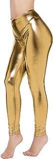 Nihoe Damen Kunstleder Shiny Wet Look Metallic Stretch Leggings
